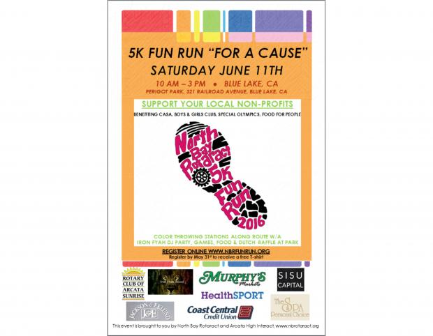 North Bay Rotaract's 5K Fun Run for a Cause. June 11th from 10:00 a.m. to 3:00 p.m. Perigot Park, Blue Lake.